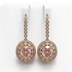 13.82 ctw Morganite & Diamond Victorian Earrings 14K