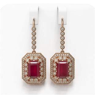 14.16 ctw Certified Ruby & Diamond Victorian Earrings