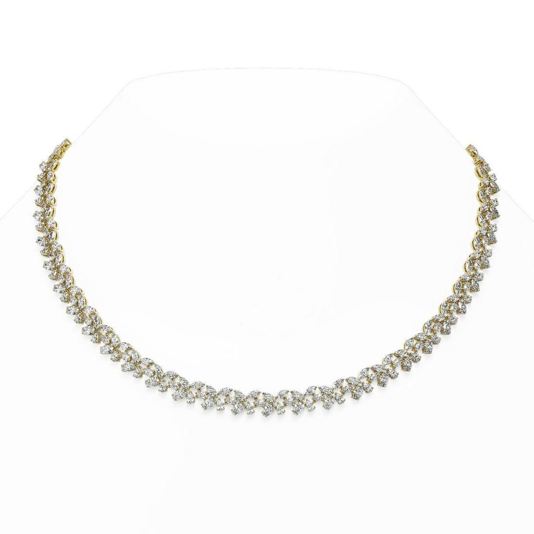 47 ctw Mix Cut Diamonds Designer Necklace 18K Yellow