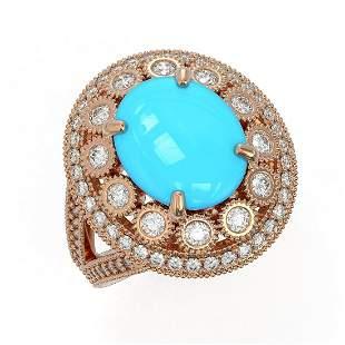 4.96 ctw Turquoise & Diamond Victorian Ring 14K Rose