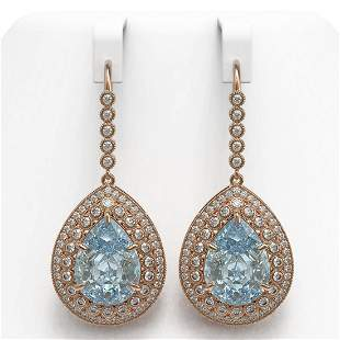 35.24 ctw Sky Topaz & Diamond Victorian Earrings 14K