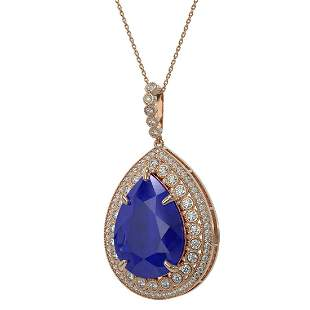 42.84 ctw Sapphire & Diamond Victorian Necklace 14K