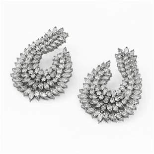 31 ctw Mix Cut Diamond Designer Earrings 18K White Gold