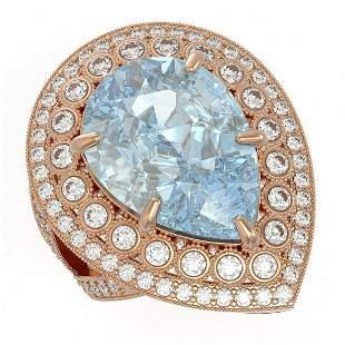 18.04 ctw Certified Sky Topaz & Diamond Victorian Ring