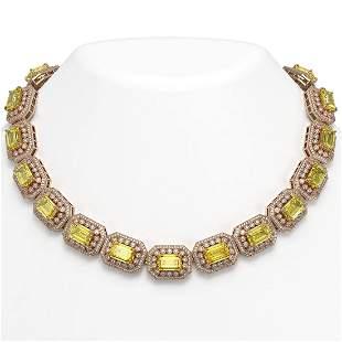 110.45 ctw Canary Citrine & Diamond Victorian Necklace