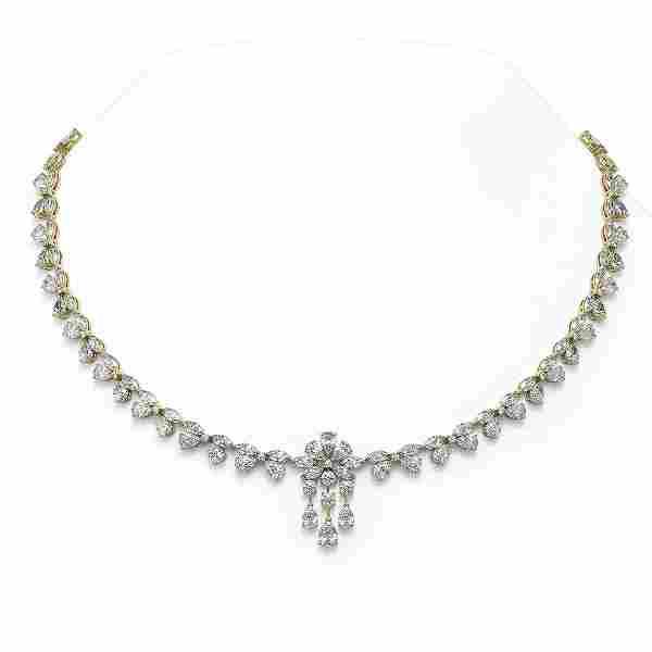 46 ctw Mix Cut Diamonds Necklace 18K Yellow Gold -