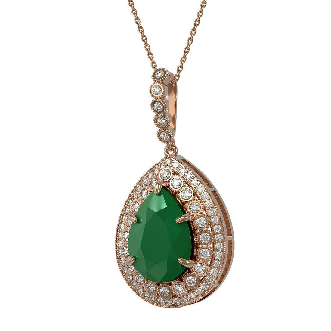 15.87 ctw Emerald & Diamond Victorian Necklace 14K Rose