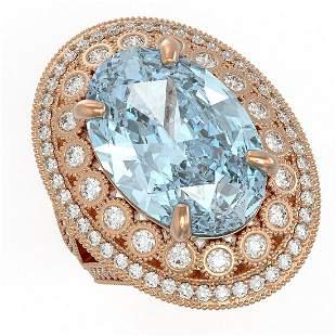 18.82 ctw Certified Sky Topaz & Diamond Victorian Ring