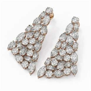 19 ctw Mix Cut Diamonds Designer Earrings 18K Rose Gold
