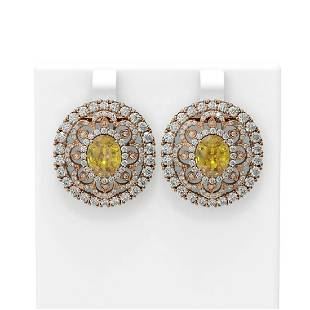 1.3 ctw Canary Citrine & Diamond Earrings 18K Rose