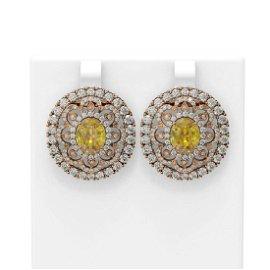 11.3 ctw Canary Citrine & Diamond Earrings 18K Rose