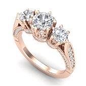 2.18 ctw VS/SI Diamond Art Deco 3 Stone Ring 18k Rose