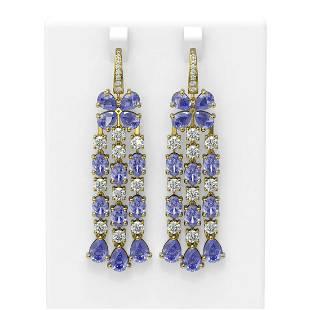 32.1 ctw Tanzanite & Diamond Earrings 18K Yellow Gold -