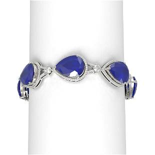 79.53 ctw Sapphire & Diamond Bracelet 18K White Gold -