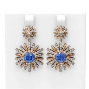 6.33 ctw Tanzanite & Diamond Earrings 18K Rose Gold -