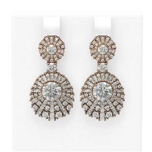 7.73 ctw Diamond Earrings 18K Rose Gold - REF-1284X8A