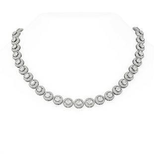 22.68 ctw Diamond Necklace 18K White Gold - REF-2842N2F