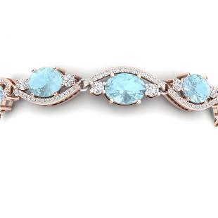 21.6 ctw Sky Topaz & VS Diamond Bracelet 18K Rose Gold