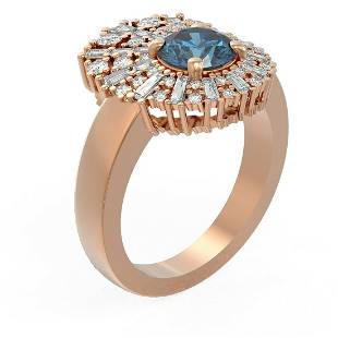 2.58 ctw Intense Blue Diamond Ring 18K Rose Gold -