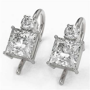 1.25 ctw Princess Cut Diamond Designer Earrings 18K