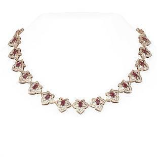 26.3 ctw Ruby & Diamond Necklace 18K Rose Gold -