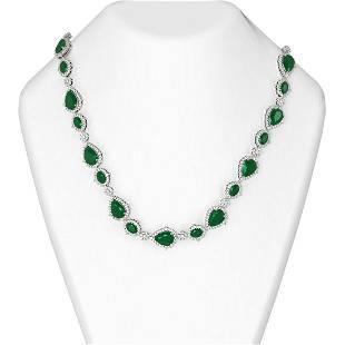 73.47 ctw Emerald & Diamond Necklace 18K White Gold -