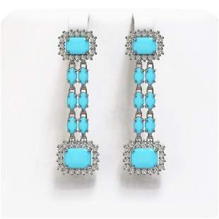 9.54 ctw Turquoise & Diamond Earrings 14K White Gold -