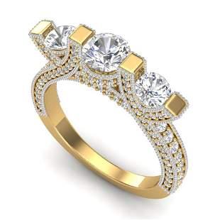 2.3 ctw VS/SI Diamond Micro Pave 3 Stone Ring 18k