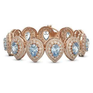 42.94 ctw Aquamarine & Diamond Victorian Bracelet 14K