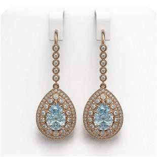 7.56 ctw Aquamarine & Diamond Victorian Earrings 14K