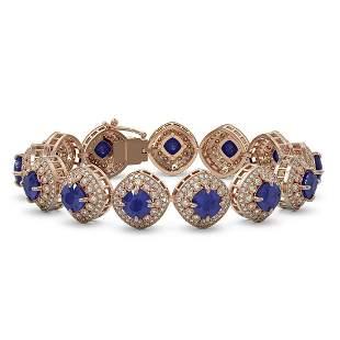 37.35 ctw Sapphire & Diamond Victorian Bracelet 14K