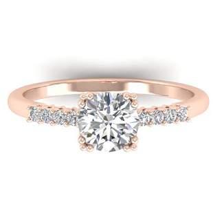 0.93 ctw Certified VS/SI Diamond Art Deco Ring 18k Rose