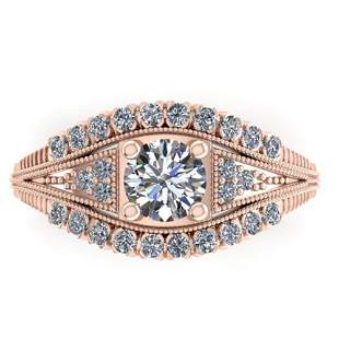 1.50 ctw Solitaire VS/SI Diamond Ring Art Deco 18k Rose