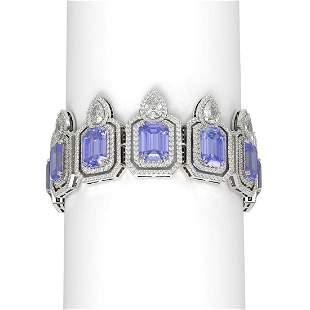 68.21 ctw Tanzanite & Diamond Bracelet 18K White Gold -