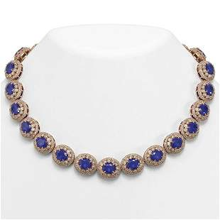 111.75 ctw Sapphire & Diamond Victorian Necklace 14K