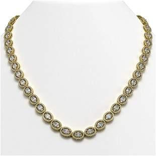 34.96 ctw Oval Cut Diamond Micro Pave Necklace 18K