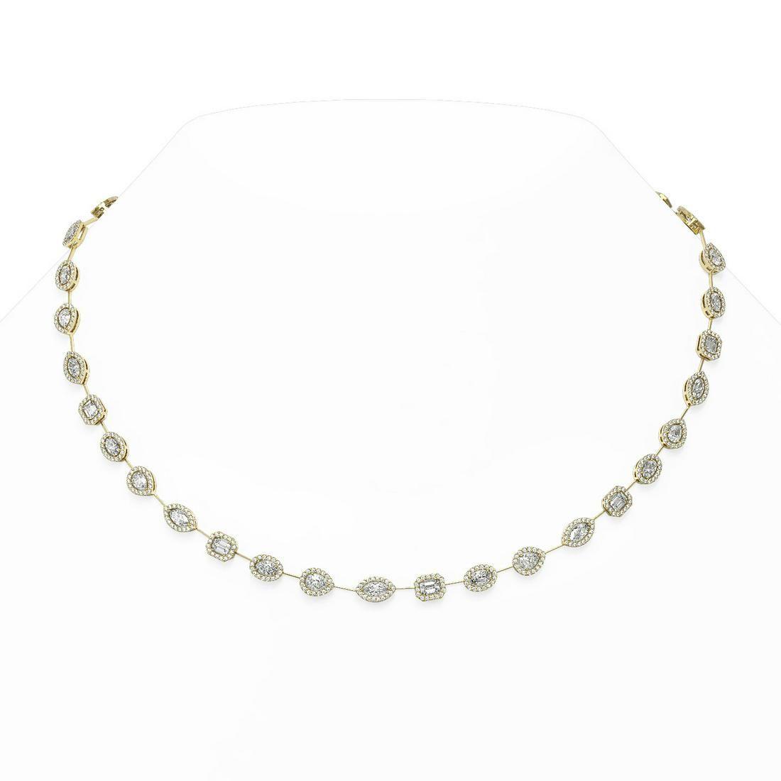 15 ctw Mix Cut Diamonds Designer Necklace 18K Yellow