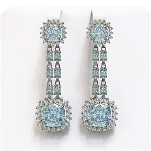 16.22 ctw Aquamarine & Diamond Earrings 14K White Gold