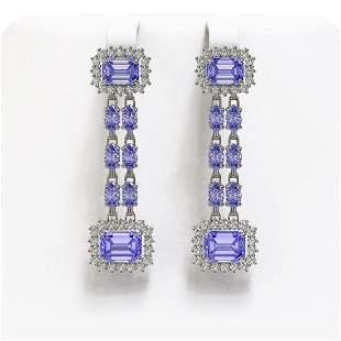 11.26 ctw Tanzanite & Diamond Earrings 14K White Gold -