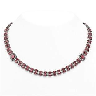 57.1 ctw Tourmaline & Diamond Necklace 14K White Gold -