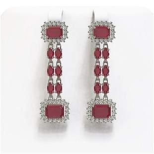 11.98 ctw Ruby & Diamond Earrings 14K White Gold -
