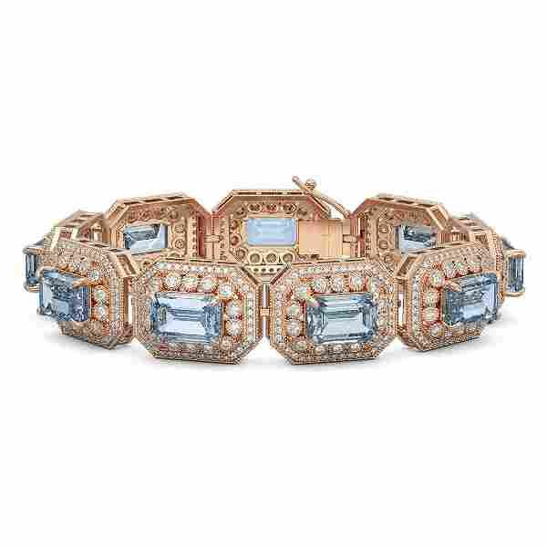 49.14 ctw Aquamarine & Diamond Victorian Bracelet 14K