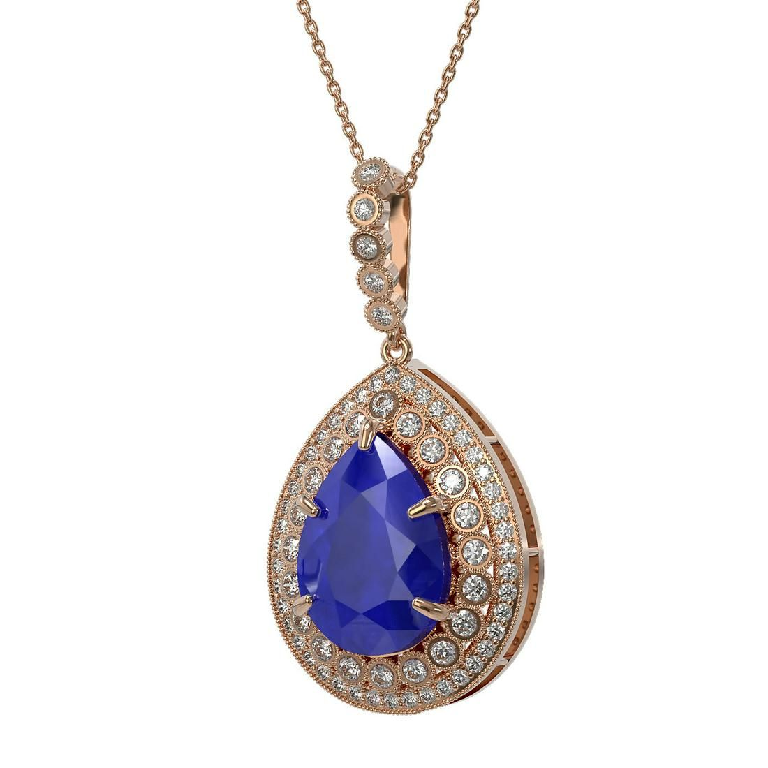 15.87 ctw Sapphire & Diamond Victorian Necklace 14K