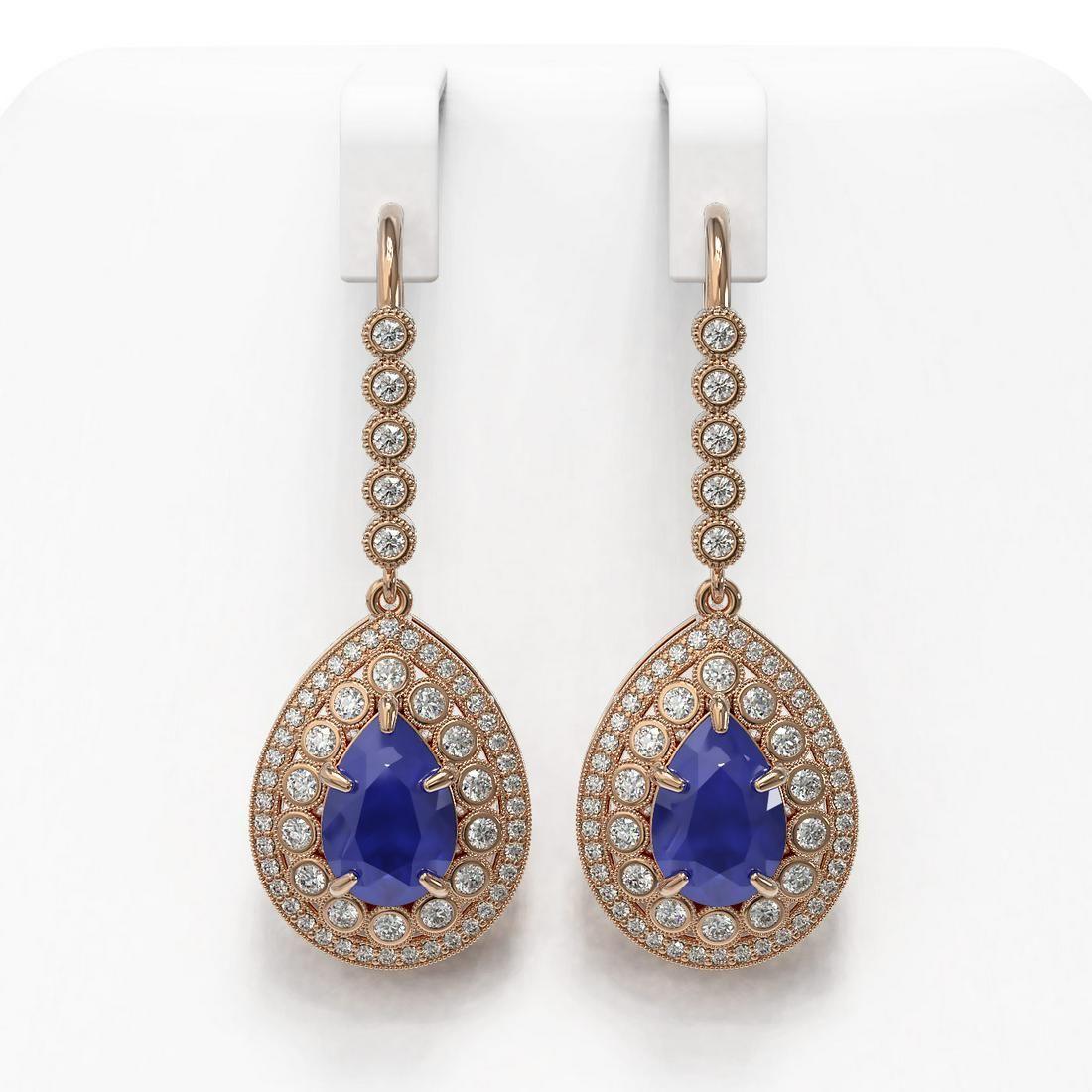10.15 ctw Sapphire & Diamond Victorian Earrings 14K