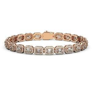 10.39 ctw Emerald Cut Diamond Micro Pave Bracelet 18K