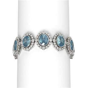 44.43 ctw Blue Topaz & Diamond Bracelet 18K White Gold