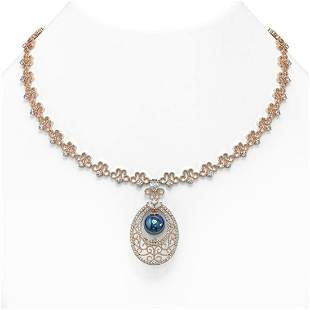 9 ctw Mixed Cut Diamond with Pearl Necklace 18K Rose