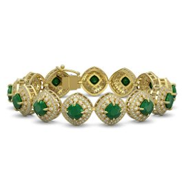 37.35 ctw Emerald & Diamond Victorian Bracelet 14K