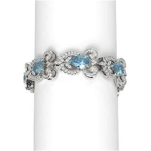 24.65 ctw Blue Topaz & Diamond Bracelet 18K White Gold