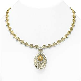 9 ctw Mixed Cut Diamond with Pearl Necklace 18K Yellow